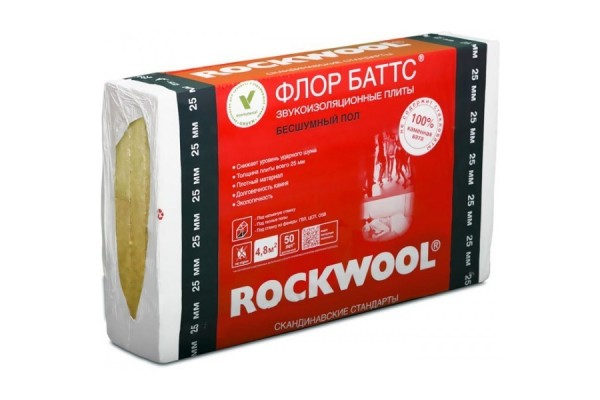 Базальтовая вата Rockwool Флор Баттс 1000х600х100 мм
