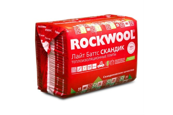Базальтовая вата Rockwool Лайт Баттс Скандик 800х600х50 мм