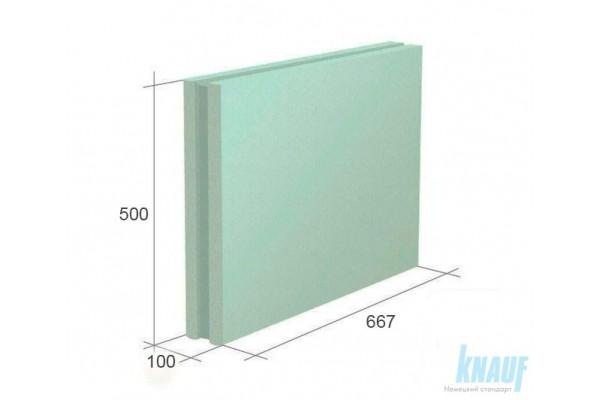 Гипсовая пазогребневая плита Кнауф полнотелая, влагостойкая, 100 мм